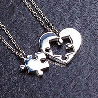 Двойные кулоны - Пазл в сердце (Серебристые)