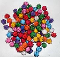 """Помпоны разноцветные """"ёжики-3""""  код 736 упаковка 10 шт., фото 1"""