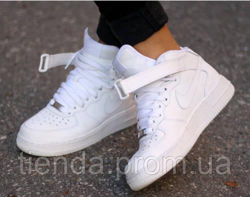 97f6b984 Кроссовки Женские Nike Air Force 1 Mid высокие белые -