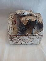 Шкатулка волк 12 см. - керамика