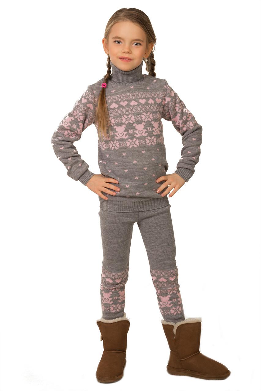 Теплый вязаный свитер и гамаши на девочку серого цвета 104-122 р