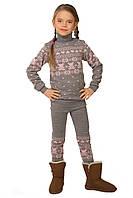 Теплый вязаный свитер и гамаши на девочку серого цвета 104-122 р, фото 1