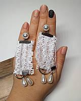 Сережки серьги Кружево белые, 8,5 см