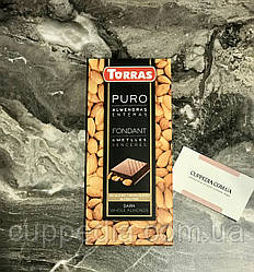 Черный испанский шоколад Torras с цельным миндалем, не содержит глютен 200 грм