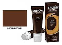 Крем для обуви Коричневый с норковым маслом SALTON PROFESSIONAL для гладкой кожи (тюбик с губкой) 75ml