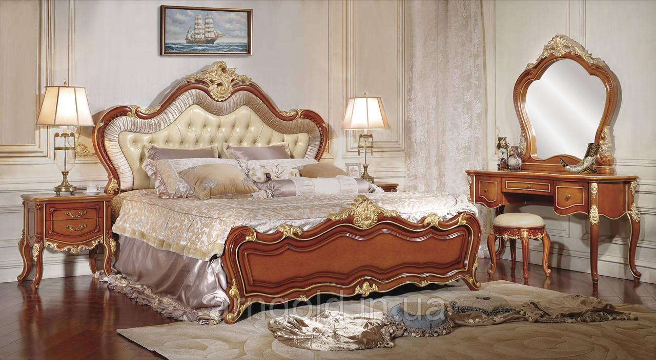 Спальня Матильда (кровать, 2 тумбочки, трюмо с зеркалом, пуф)