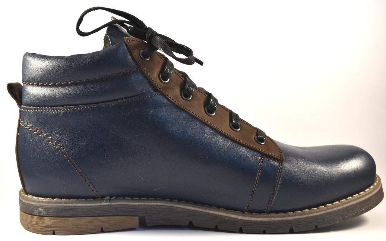 Большой размер зимние мужские синие ботинки кожаные Rosso Avangard BS Bridge Street Blu Leather