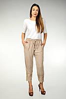 Штаны летние женские укороченные на резинке, бежевые, на 48-52 размеры, фото 1