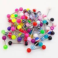 Украшения для пирсинга языка из медицинской стали с цветными акриловыми шариками (набор 5 штук).