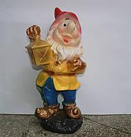 Фигурка Гном с фонариком ( полиустон) 42 см.