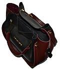 Женская черная с бордовыми вставками сумка с клачем Michael Kors (24*28*14), фото 3