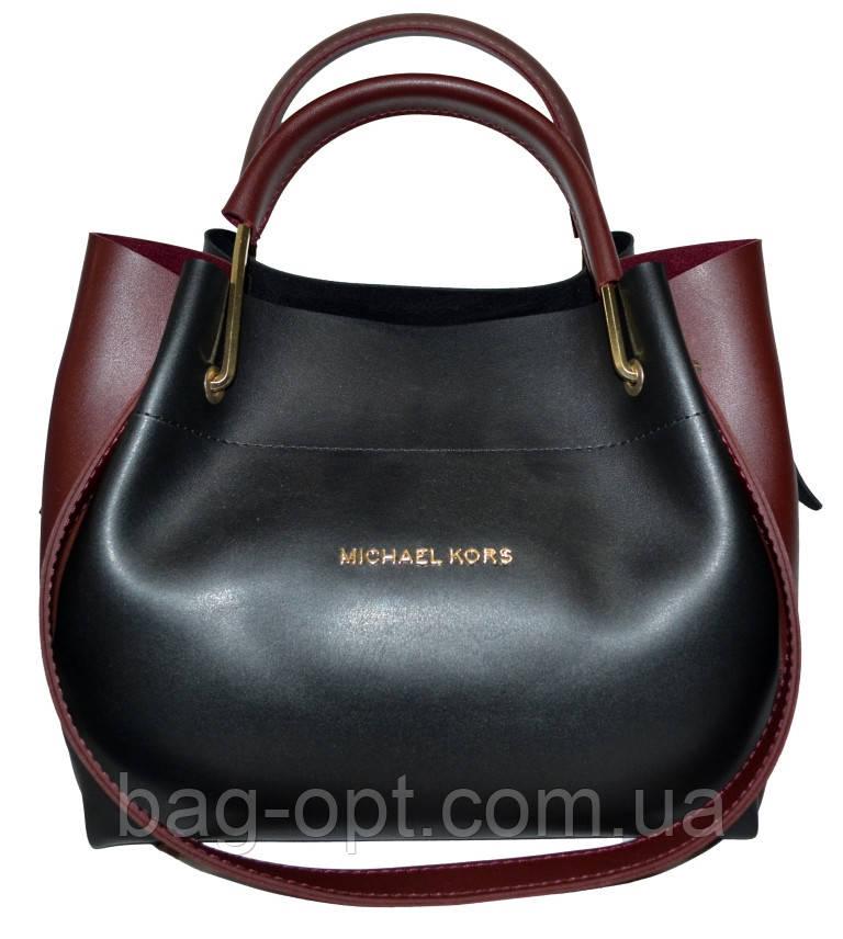 Женская черная с бордовыми вставками сумка с клачем Michael Kors (24*28*14)