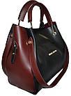 Женская черная с бордовыми вставками сумка с клачем Michael Kors (24*28*14), фото 2