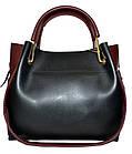 Женская черная с бордовыми вставками сумка с клачем Michael Kors (24*28*14), фото 4
