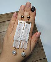 Сережки серьги Кружево белые, 9 см