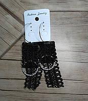 Сережки серьги Кольца, кружево черные, 10 см