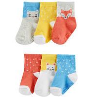 Комплект носочков для девочки Carters горошек и животные