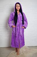 Махровый женский халат_SOFT длинный с капюшоном, р-р 44-52