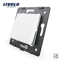 Клавишный проходной выключатель Livolo, цвет белый (VL-C7-K1S-11)