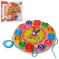 Деревянная игрушка Часы MD 1270, 18см, рамка-владыш, шнуровка, в кор-ке, 18,5-18,5-2,5см