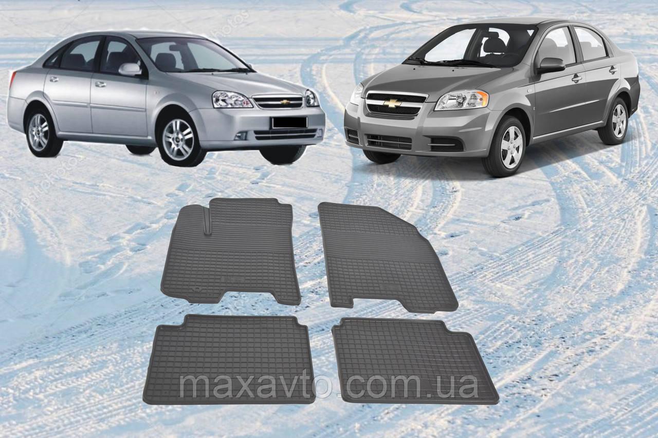 Автоковрики резиновые Chevrolet Aveo Lacetti ковры в салон Авео Лачети CARGUMM