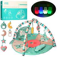 Коврик для младенца HX11200-A, 85см, дуга 2шт, подвески 5шт, пианино, музыка, звук, свет, бат, фото 1