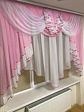 Тюль с ламбрекеном 2м Милена Мягкий , Шифон, розовый