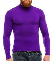Гольф (водолазка) мужской, теплый, на флисе, фиолетовый размер 52-54