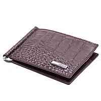 Зажим для денег кожаный коричневый Karya 0902-57, фото 1