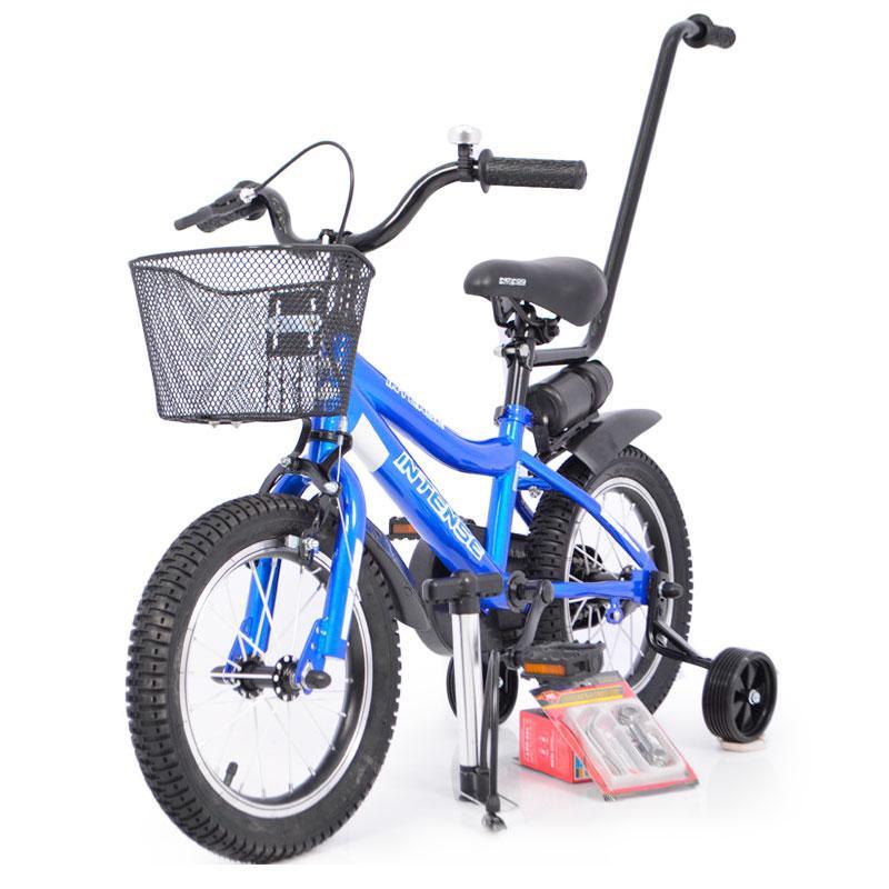Дитячий Велосипед з бічними колесами і батьківською ручкою INTENSE 14 дюймів N-200 Синій