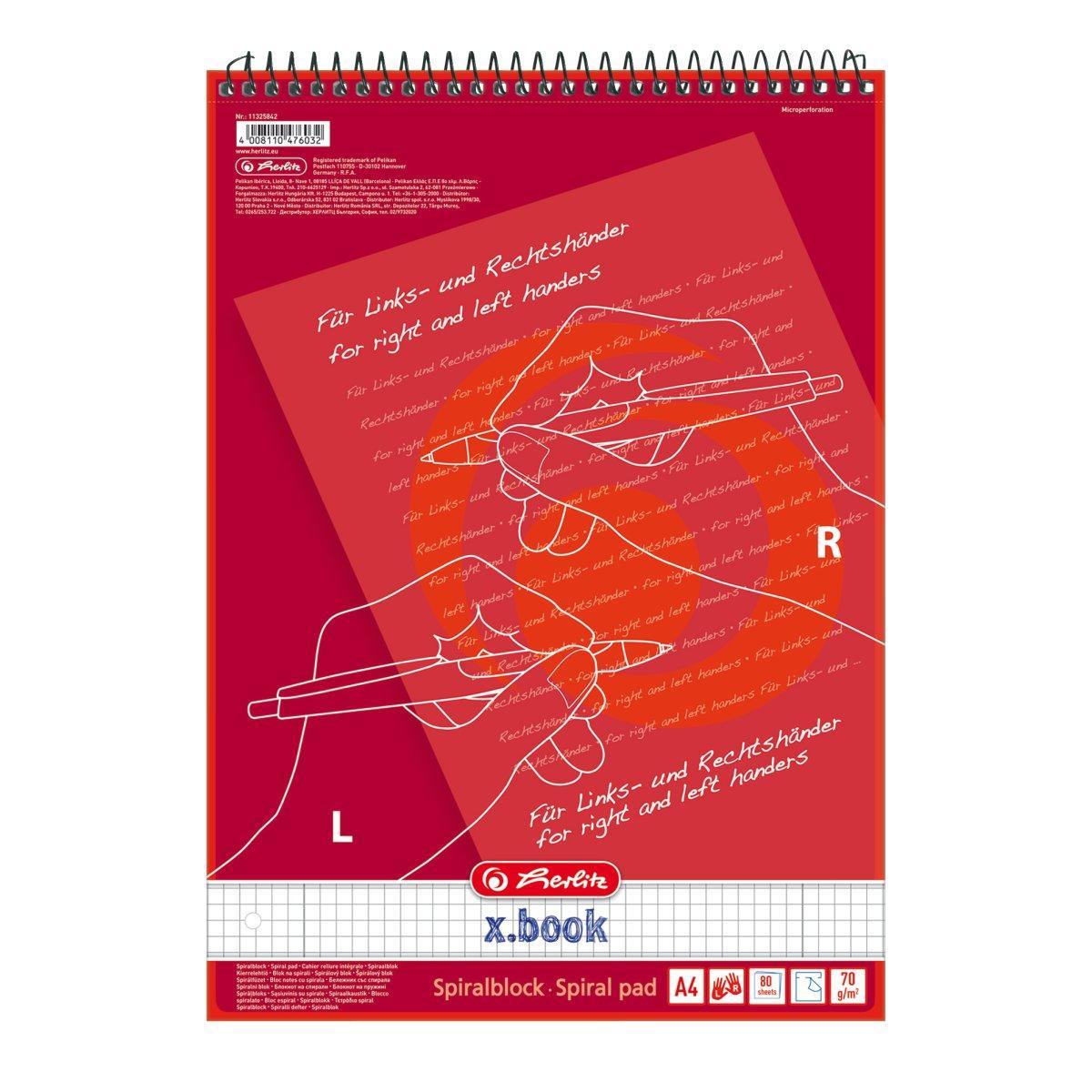 Блокнот Herlitz X.Book А4 80 листов клетка красный на спирали