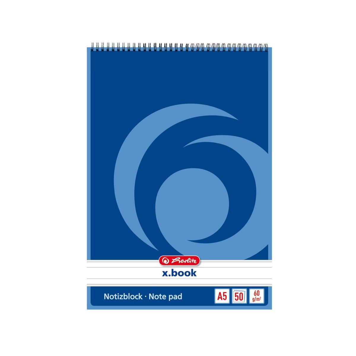Блокнот Herlitz X.Book А5 50 листов линия синий на спирали