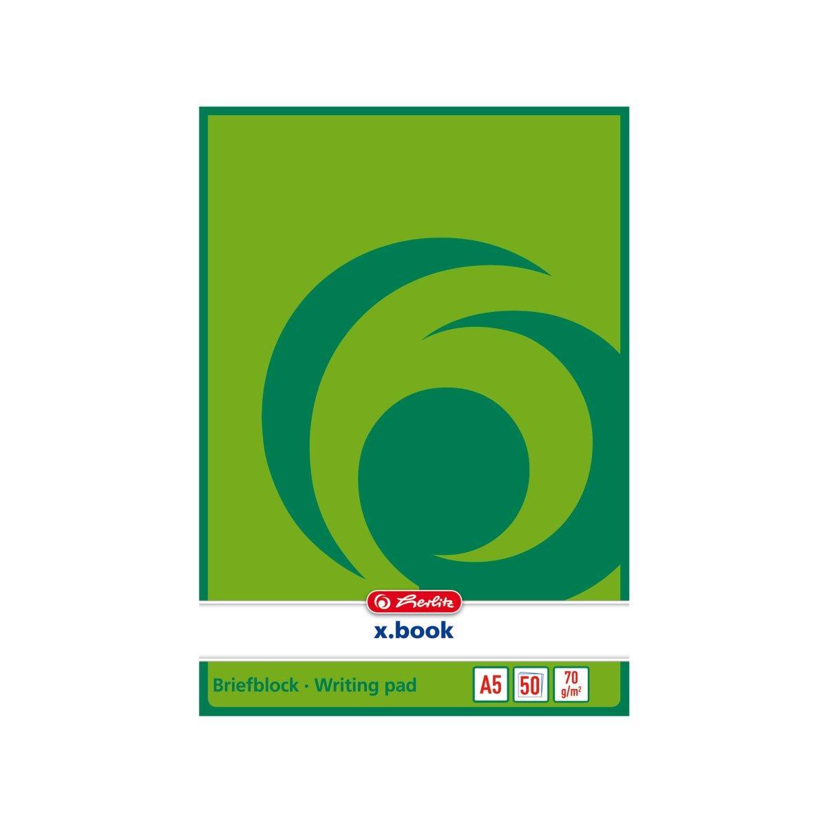Блокнот Herlitz X.Book А5 50 листов не линованный зеленый на склейке