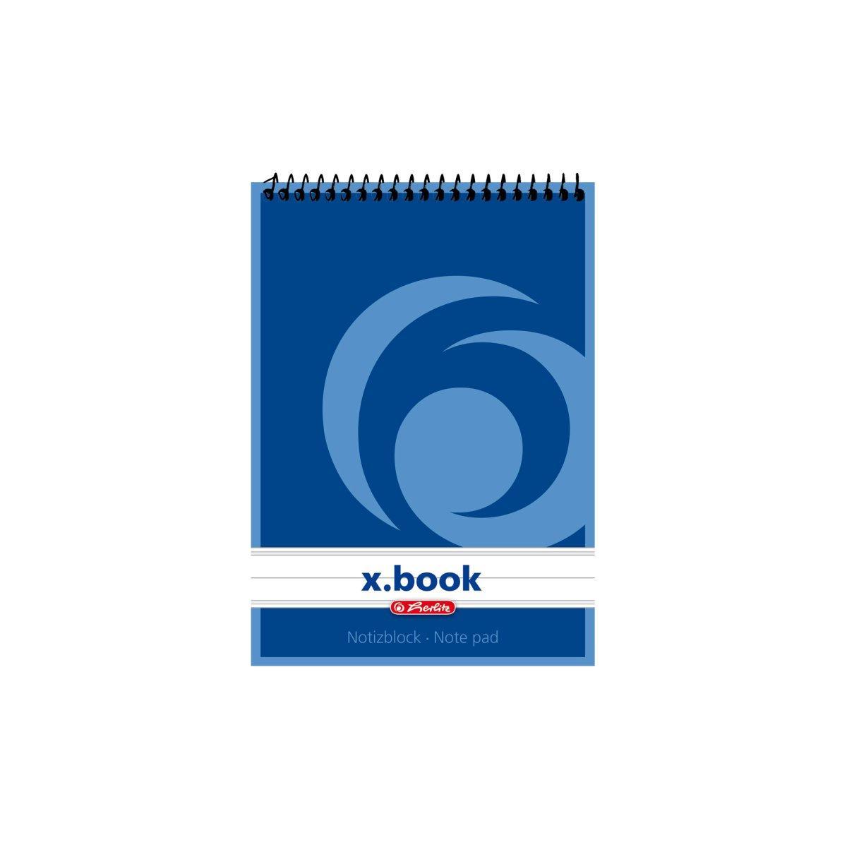 Блокнот Herlitz X.Book А6 50 листов линия синий на спирали