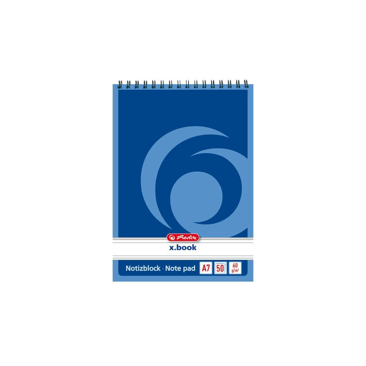 Блокнот Herlitz X.Book А7 50 листов линия синий на спирали