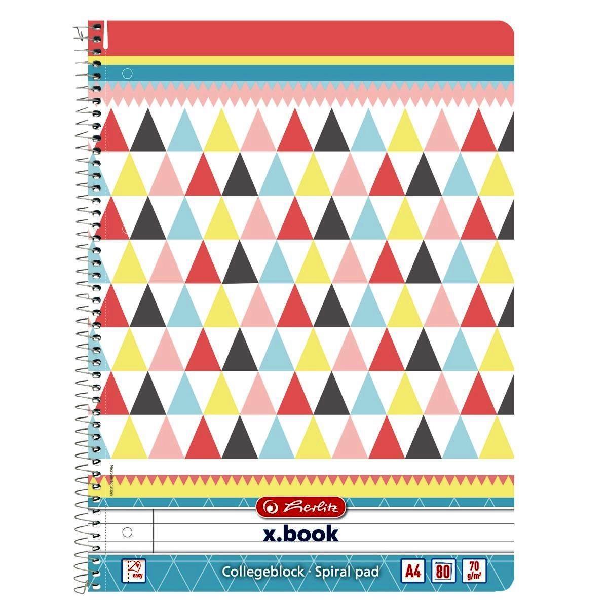 Блокнот Herlitz А4 80 листов линия Graphic Pastel Mix
