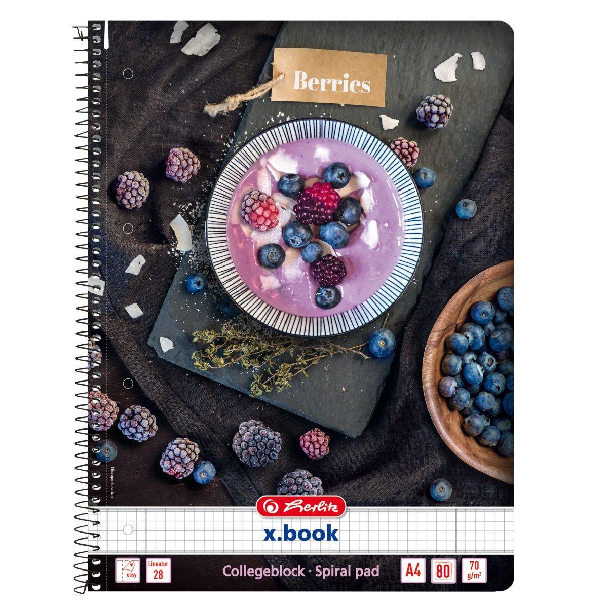 Блокнот Herlitz А4 80 листов клетка Autumn Delight Berries