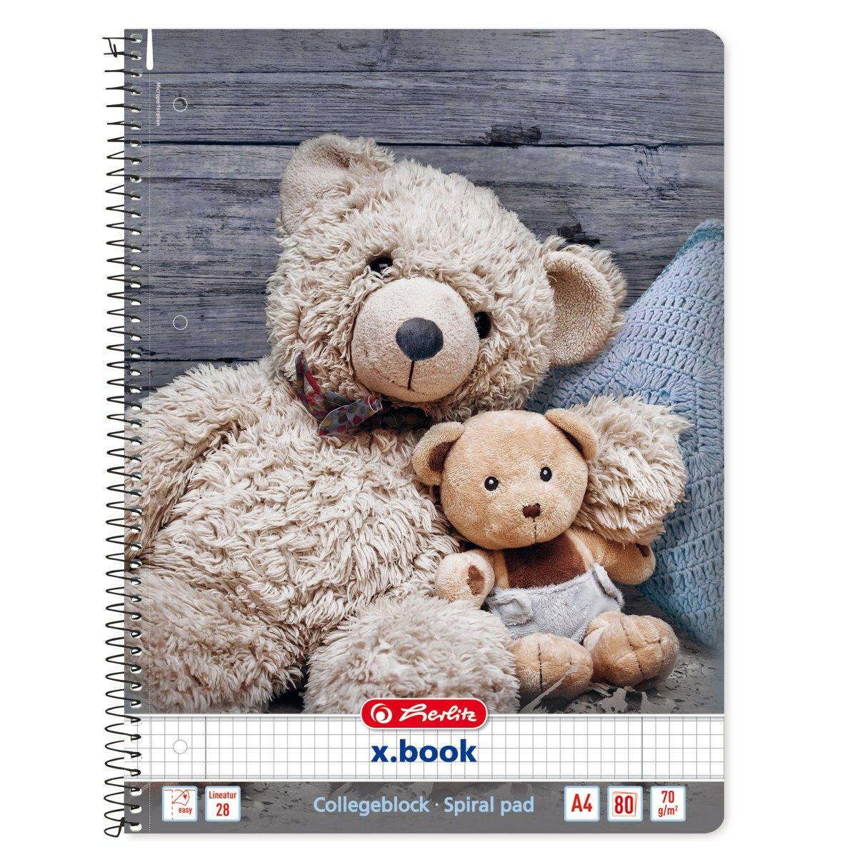 Блокнот Herlitz А4 80 листов клетка Winter Cozy Teddy Bear