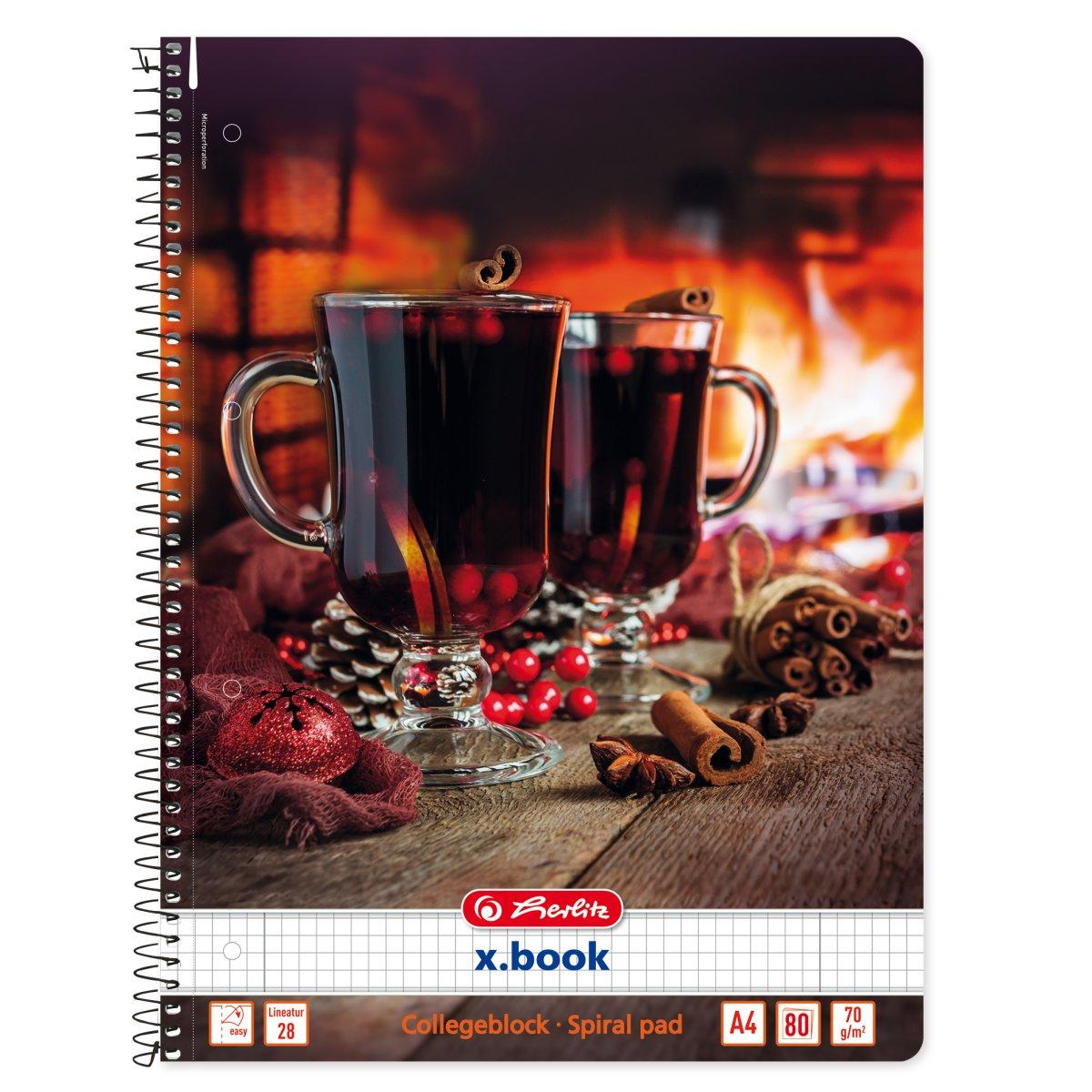 Блокнот Herlitz А4 80 листов клетка Winter Cozy Mulled Wine