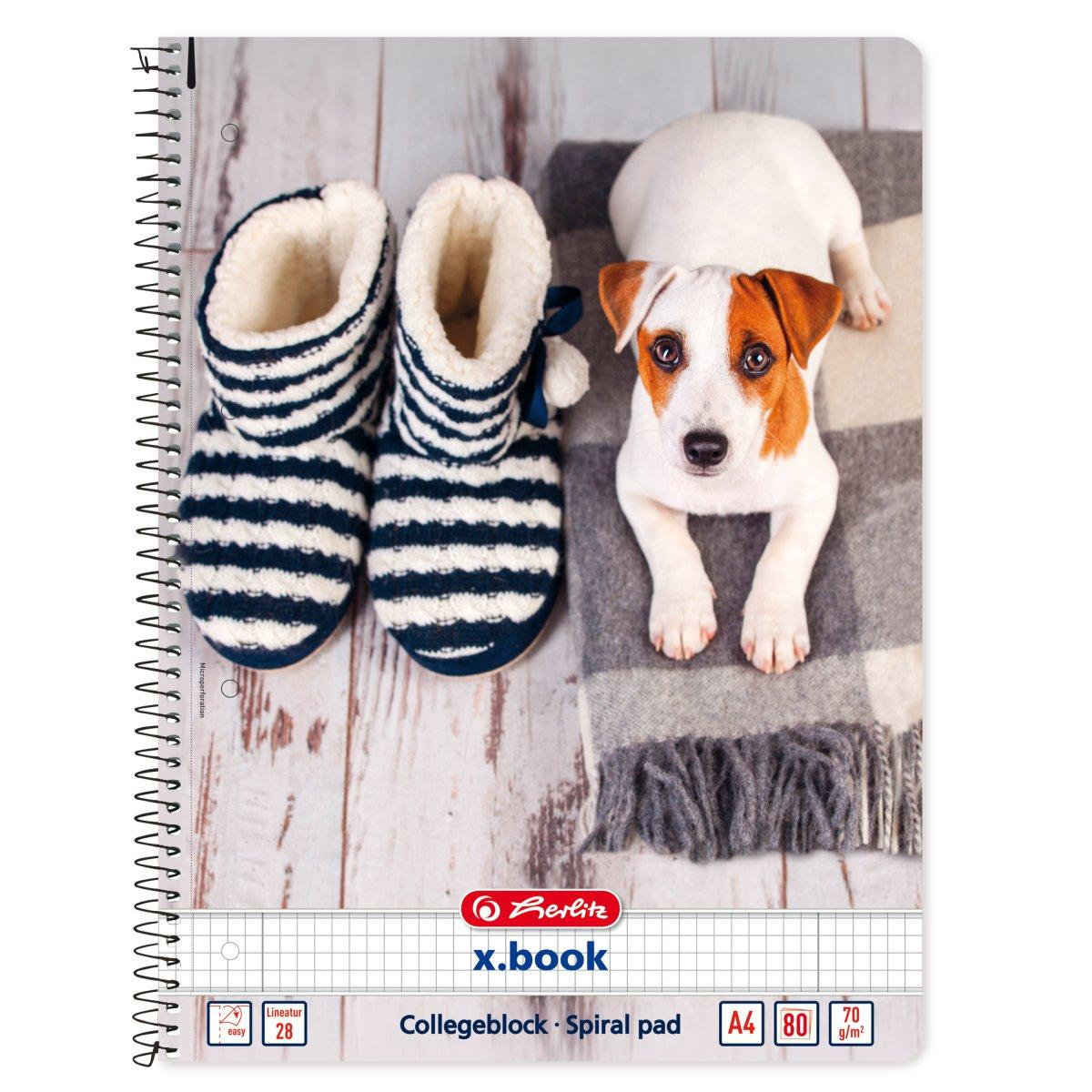 Блокнот Herlitz А4 80 листов клетка Winter Cozy Doggie