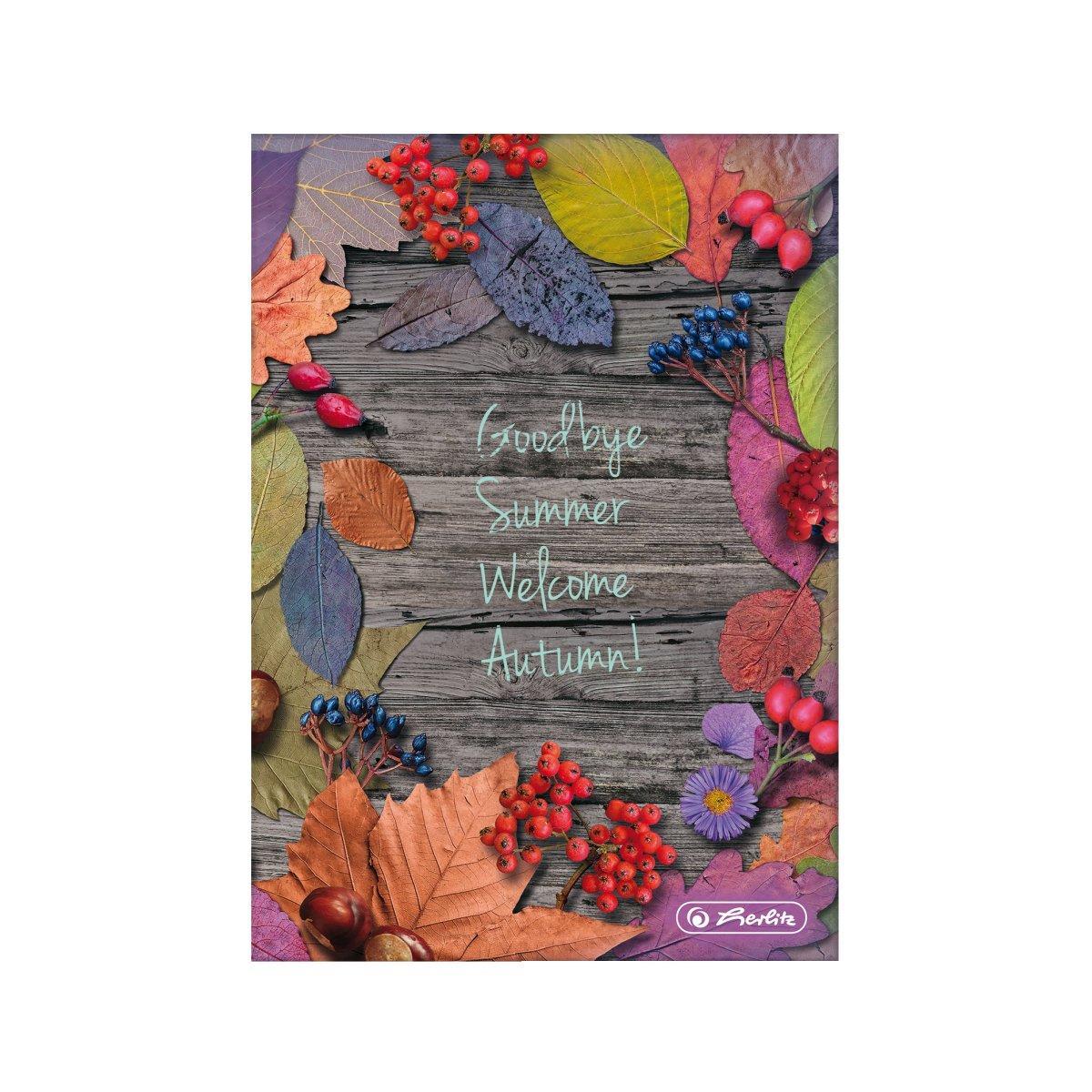 Блокнот Herlitz А5 96 листов клетка Autumn Delight Leaves