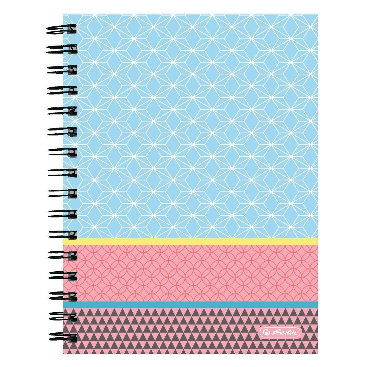 Блокнот Herlitz А5 100 листов клетка Graphic Pastel Blue