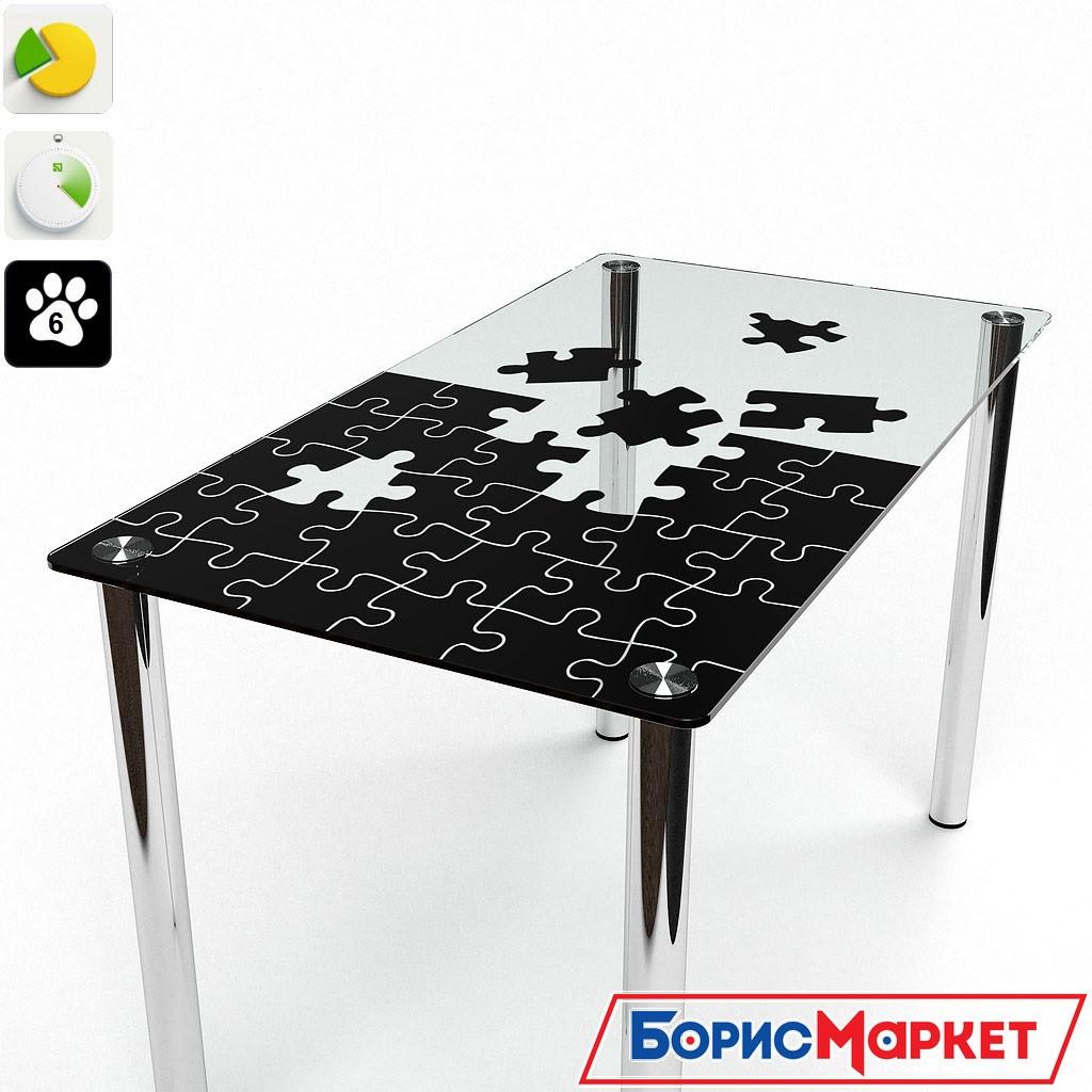 Обеденный стол стеклянный прямоугольный Пазл S-2 от БЦ-Стол 910х610 *Эко
