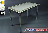 Обеденный стол стеклянный прямоугольный Плетеная рамка от БЦ-Стол 910х610 *Эко