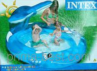 """Детский надувной бассейн INTEX 57435 """"Весёлый кит"""" с фонтаном"""