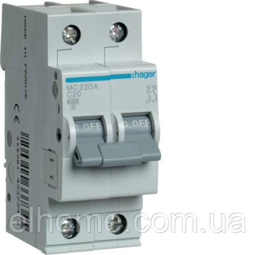 Автоматичний вимикач 2P 6kA C-20A 2M