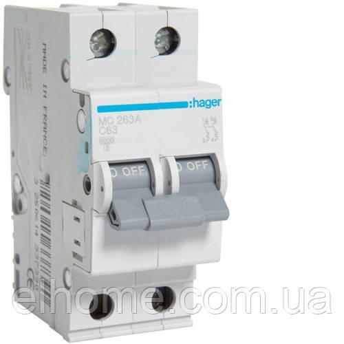 Автоматичний вимикач 2P 6kA C-63A 2M
