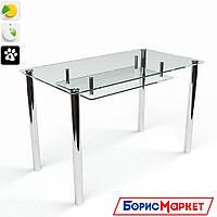 Обеденный стол стеклянный прямоугольный Прозрачный с полкой от БЦ-Стол 910х610 *Эко