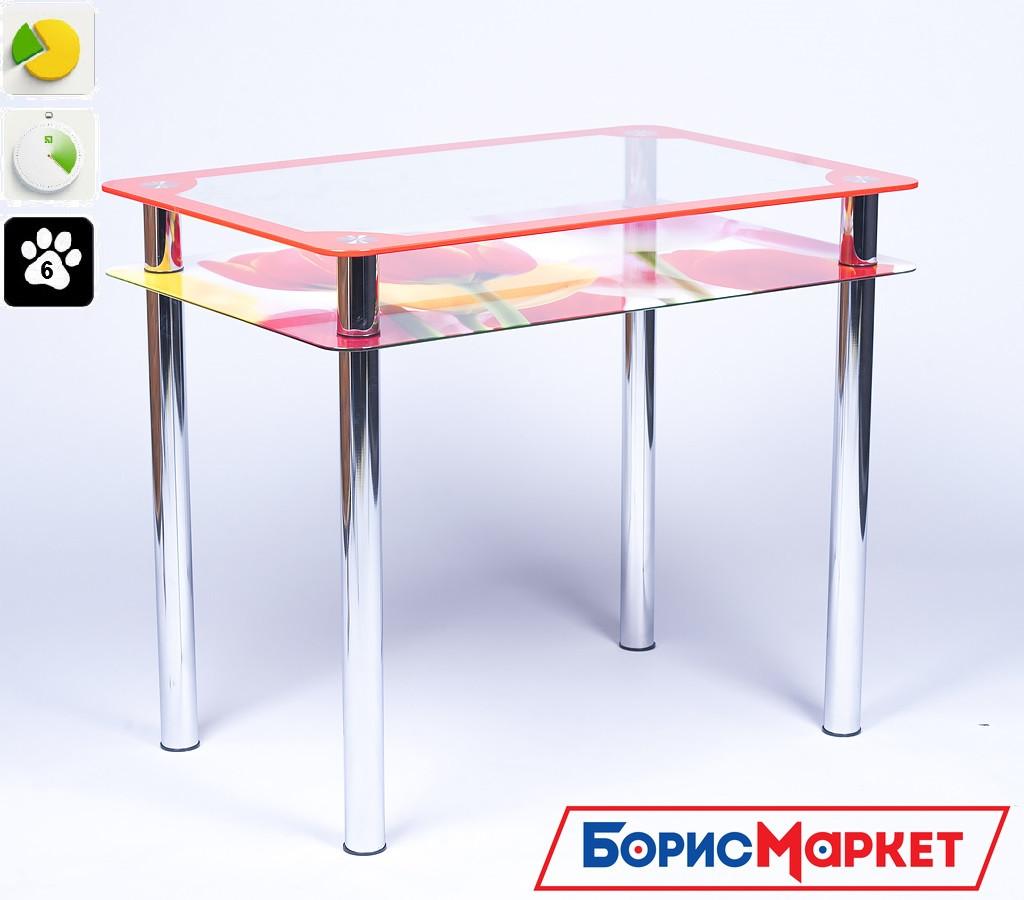 Обеденный стол стеклянный прямоугольный Рамка-фотопечать от БЦ-Стол 910х610 *Эко