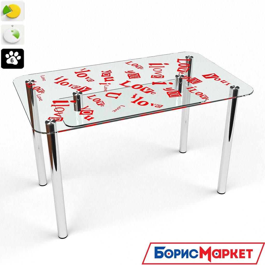 Обеденный стол стеклянный прямоугольный С любовью S-2  от БЦ-Стол 910х610 *Эко